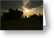 Program Greeting Cards - Silhouette Of Marines And An Amphibious Greeting Card by Stocktrek Images