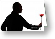 Holding Flower Greeting Cards - Silhouette of mature man holding rose Greeting Card by Sami Sarkis