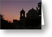 Heavenly Greeting Cards - Silhouette of Mission San Jose Greeting Card by Ellie Teramoto