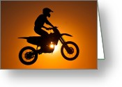 Motorcycle Racing Greeting Cards - Silhouette Of Motocross At Sunset Greeting Card by Shahbaz Hussain