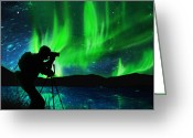 Discovery Photo Greeting Cards - Silhouette Of Photographer Shooting Stars Greeting Card by Setsiri Silapasuwanchai
