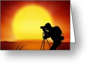Discovery Photo Greeting Cards - Silhouette Of Photographer With Big Sun  Greeting Card by Setsiri Silapasuwanchai