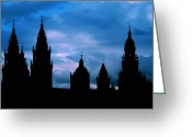 Striking Greeting Cards - Silhouette of Spanish church Greeting Card by Jasna Buncic
