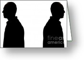 Contemplation Greeting Cards - Silhouette of two men back to back Greeting Card by Sami Sarkis