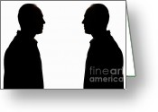 Contemplation Greeting Cards - Silhouette of two men face to face Greeting Card by Sami Sarkis
