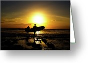 Canary Greeting Cards - Silhouette Surfers Greeting Card by Rolfo