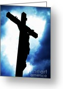 Jesus Christ Icon Photo Greeting Cards - Silhouetted crucifix against a cloudy sky Greeting Card by Sami Sarkis