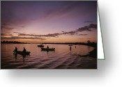 River Scenes Greeting Cards - Silhouetted Fishermen On The  Kissimmee Greeting Card by Medford Taylor
