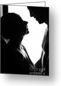 Caress Greeting Cards - Silhouettes of Two Greeting Card by Jenny Rainbow