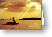 Heavenly Greeting Cards - Silhouettes on the Beach Greeting Card by Carlos Caetano