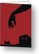 Horror Car Greeting Cards - Silhouettes Greeting Card by Sofia Wrangsjo