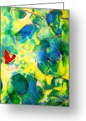 Blue Tapestries - Textiles Greeting Cards - Silk Painting With a Heart  Greeting Card by Alexandra Jordankova