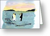 Blues Tapestries - Textiles Greeting Cards - Silk Penguins Greeting Card by Carolyn Doe