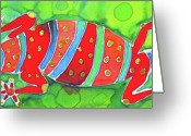 Color Tapestries - Textiles Greeting Cards - Silky Gecko Greeting Card by Kelly     ZumBerge