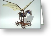 Wings Sculpture Greeting Cards - Silly Heart Greeting Card by Jim Casey