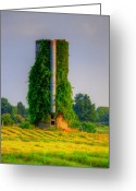 Tree Artwork Mixed Media Greeting Cards - Silo Greeting Card by Robert Pearson
