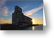 Buffalo New York Greeting Cards - Silo Sundance Greeting Card by Peter Chilelli