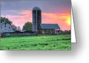 Farm Fields Greeting Cards - Silo Sunset I Greeting Card by Dan Carmichael