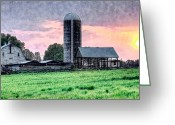 Farm Fields Greeting Cards - Silo Sunset II Greeting Card by Dan Carmichael