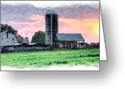 Farm Fields Greeting Cards - Silo Sunset III Greeting Card by Dan Carmichael