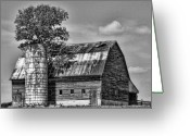 Old Barns Greeting Cards - Silo Tree Black and White Greeting Card by Kristie  Bonnewell