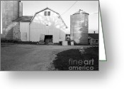 Round Barn Greeting Cards - Silos Split by Barn Greeting Card by Jan Faul