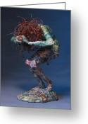 Nudes Mixed Media Greeting Cards - Silvan Offering a sculpture by Adam Long Greeting Card by Adam Long