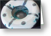 Thrown Ceramics Greeting Cards - Silver and Teal Bowl Greeting Card by Xoey HAWK
