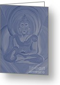 Monotone Painting Greeting Cards - Silver Buddha Greeting Card by First Star Art 