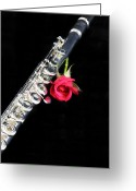 Orchestra Greeting Cards - Silver Flute Red Rose Greeting Card by M K  Miller