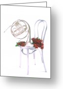 Horn Greeting Cards - Silver French horn on silver chair Greeting Card by Garry Gay
