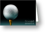 Playing Golf Greeting Cards - Silver  Golf Ball Greeting Card by Gualtiero Boffi