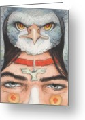 Amulet Greeting Cards - Silver Hawk Warrior Greeting Card by Amy S Turner