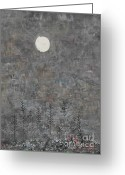 Winter Trees Digital Art Greeting Cards - Silver Moon Greeting Card by Andy  Mercer