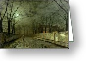 House Tapestries Textiles Greeting Cards - Silver Moonlight Greeting Card by John Atkinson Grimshaw