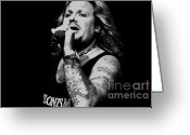 Tommy Lee Greeting Cards - Silver Nitrate Vince Neil Greeting Card by Christopher  Chouinard