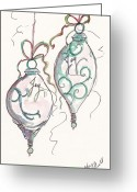 Holiday Notecard Greeting Cards - Silver Ornaments Of Joy Greeting Card by Michele Hollister - for Nancy Asbell