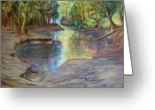 Autumn Landscape Pastels Greeting Cards - Silver River Hideaway Greeting Card by Liz Evensen