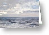 Shores Painting Greeting Cards - Silver Sea Greeting Card by Henry Moore