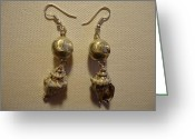Silver Jewelry Greeting Cards - Silver Seashell Dangle Earrings Greeting Card by Jenna Green