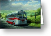 Britain Painting Greeting Cards - Silver Star Leyland coach Greeting Card by Mike  Jeffries