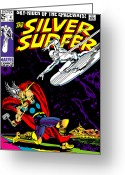 Thor Digital Art Greeting Cards - Silver Surfer No.4 Greeting Card by Steve Benton
