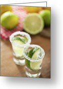 Indoors Greeting Cards - Silver Tequila, Limes And Salt Greeting Card by by Marion C. Haold, www.marionhassold.com
