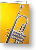 Trumpet Music Greeting Cards - Silver Trumpet Isolated On Yellow Greeting Card by M K  Miller