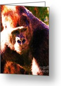 Primates Greeting Cards - Silverback Gorilla . Photoart Greeting Card by Wingsdomain Art and Photography