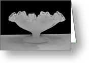 Black Glass Art Greeting Cards - Silvercrest Fenton Bowl Greeting Card by Marsha Heiken