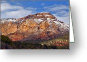Snow Capped Greeting Cards - Silvery Capped Red Rocks closeup Greeting Card by Steven Love