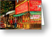 Montreal Summer Scenes Greeting Cards - Simchas  Fruit Store Greeting Card by Carole Spandau