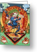 Thanka Greeting Cards - Simhamukha - Lion Face Dakini Greeting Card by Sergey Noskov