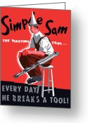 Second Greeting Cards - Simple Sam The Wasting Fool Greeting Card by War Is Hell Store
